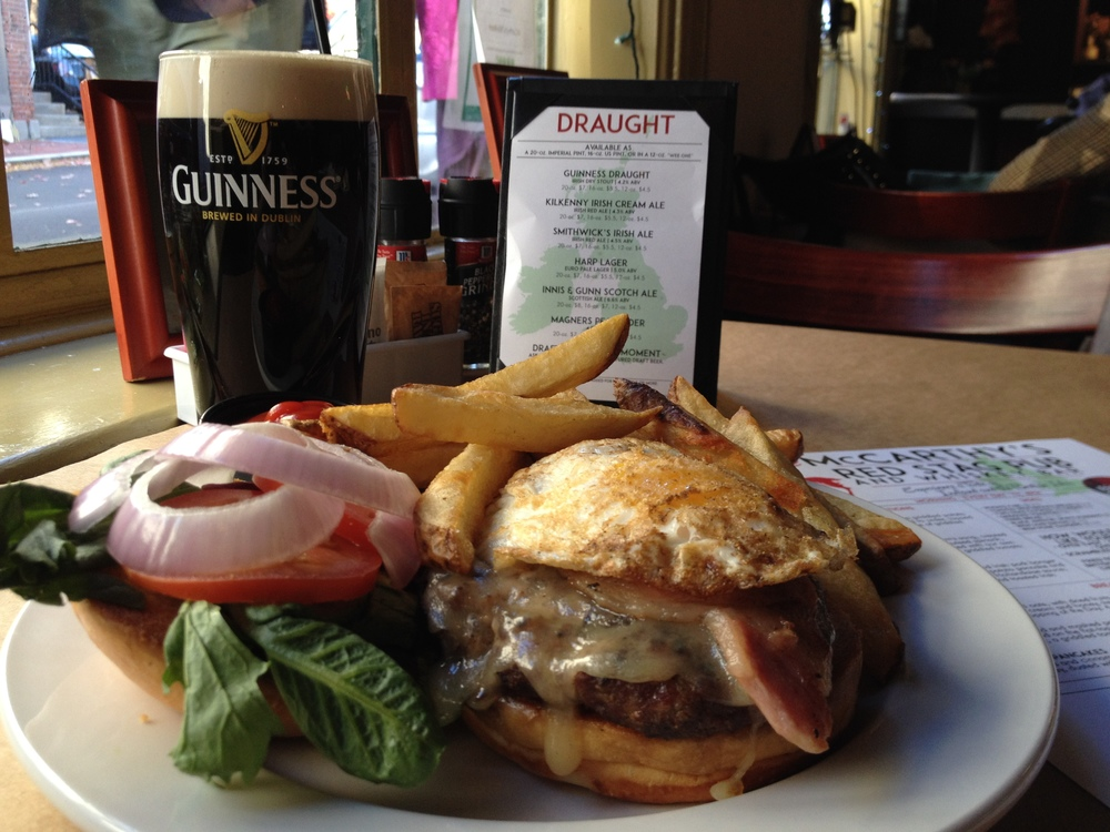 Wild Boar Burger with a pint of Guinness