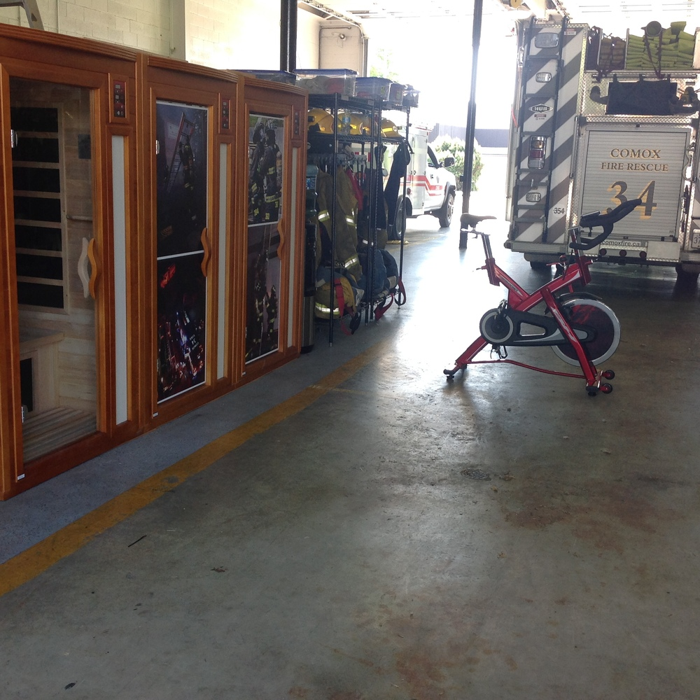 Our three new saunas and accompanying spin bike.