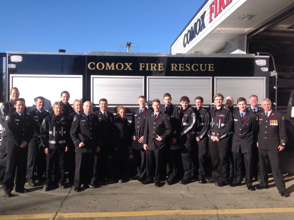 Over 20 Comox Fire Rescue members attending the Remembrance Day ceremony.