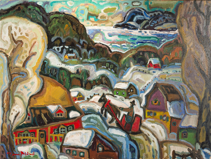 """Le facteur d'antan  Oil/Canvas 36x48"""" // 91,44x121,92 cm"""
