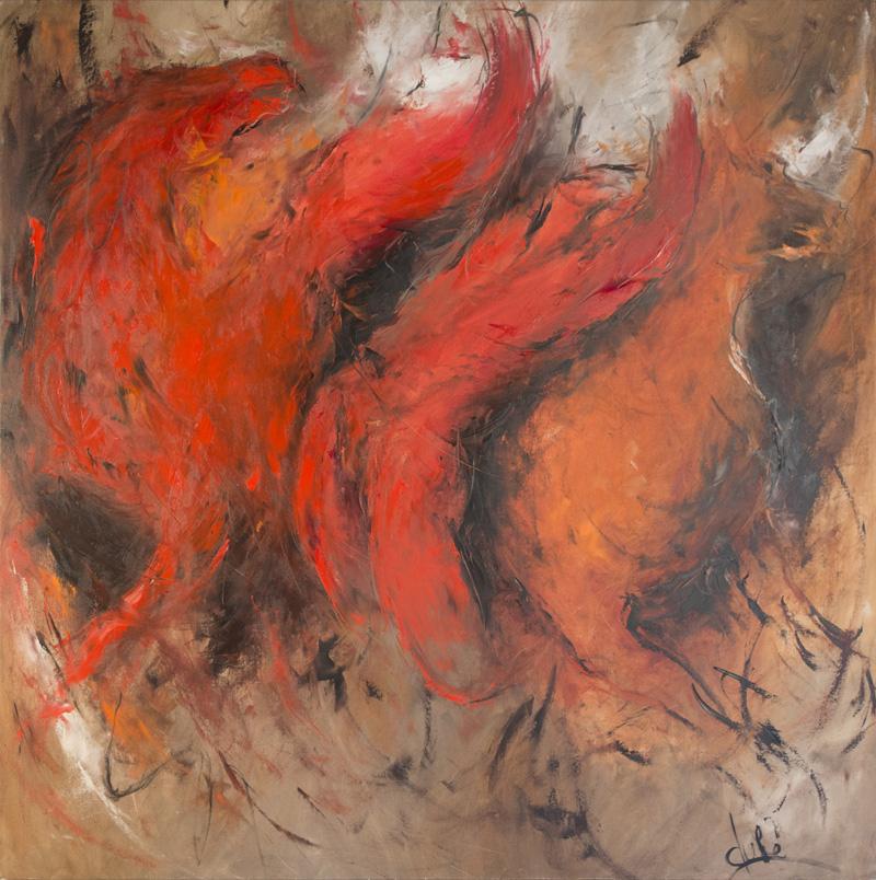 """De la tragédie grecque  Oil/Canvas 50x50"""" // 127x127 cm"""