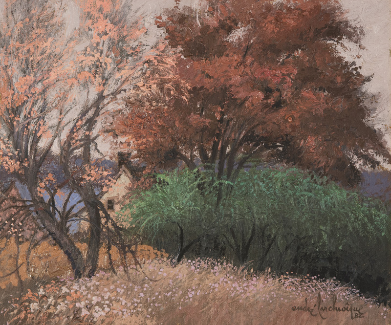 """Avant les pourpres automnales Oil/Canvas 10x12"""" // 25,4x30,48 cm 1982"""