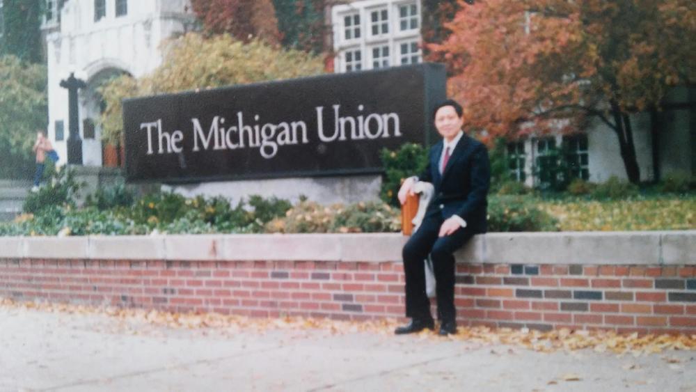 陈老师第一次来密歇根大学,1987年