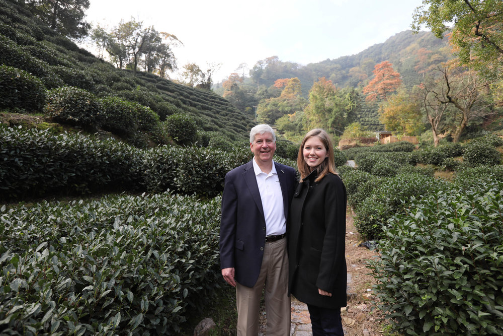 Courtney and Gov. Rick Snyder on an official trip to China in 2016