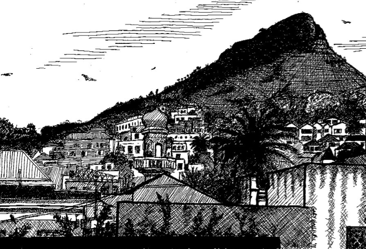 Ink sketch from LaRose B&B, looking out over the Bo'Kaap district of Capetown. With calls to prayer audible from 4 mosques, it was some experience sitting up there in the morning & evening.
