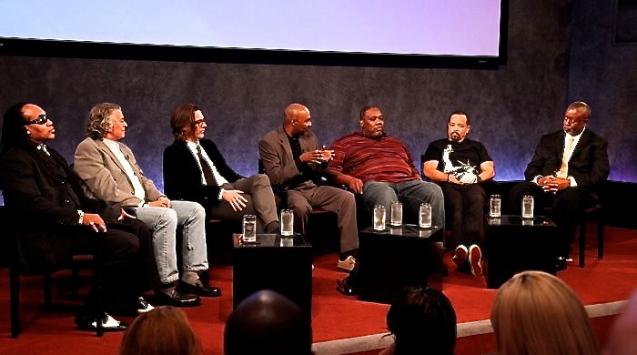Screening and discussion of PLanet Rock at Paley Center for Media. Left to right: Grandmaster Flash, Martin Torgoff, Richard Lowe, Nelson George, Azie Faison, Ice-T, and Barry Michael Cooper