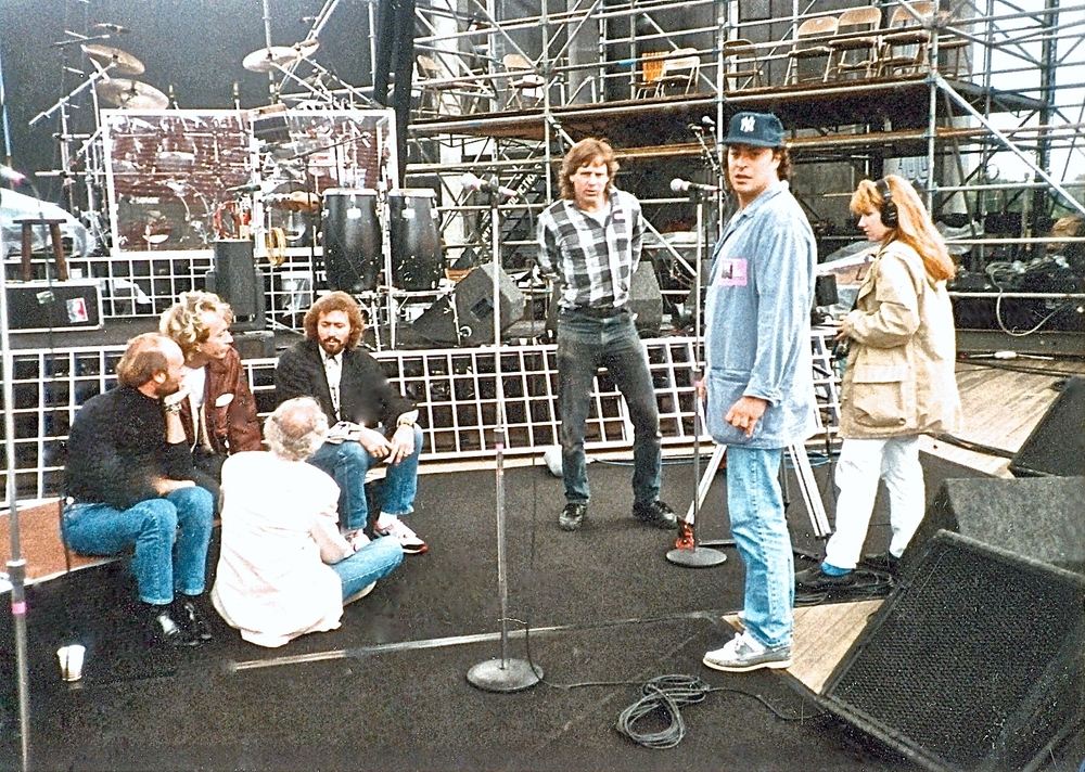 With the Bee Gees and Ron Delsener, producing and directing documentary for Delsener at Jones Beach Theater, 1989.
