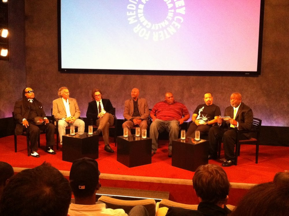 Panel discussion of Planet Rock at Paley Center For Media, 2010. L to R: Grandmaster Flash, Torgoff, Richard Lowe, Nelson George, Azie Faison, Ice-T, Barry Michael Cooper.
