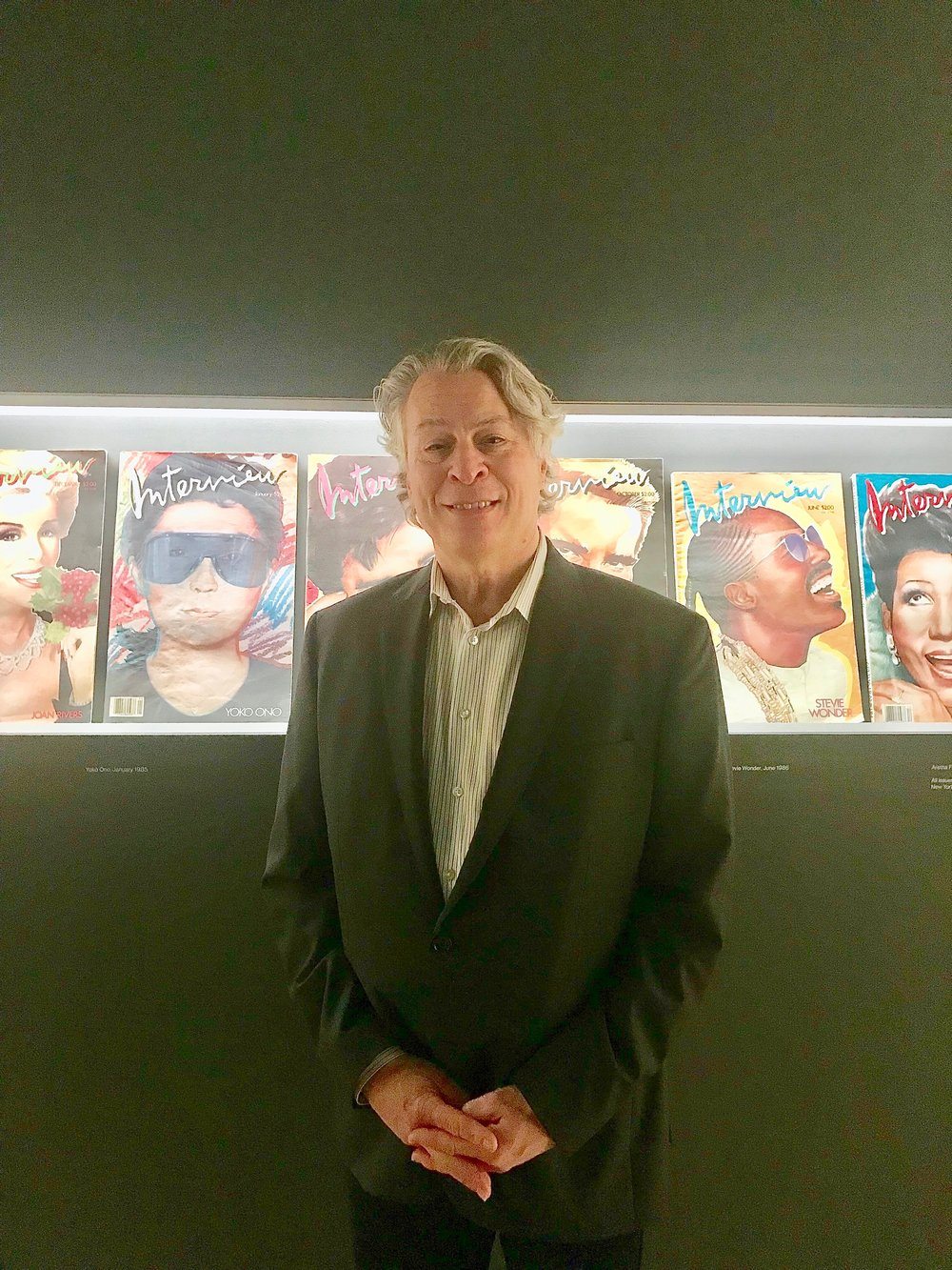 Interview Magazine installation at opening of Warhol exhibit at Whitney, November of 2018, with two of his covers (Yoko Ono, Stevie Wonder).