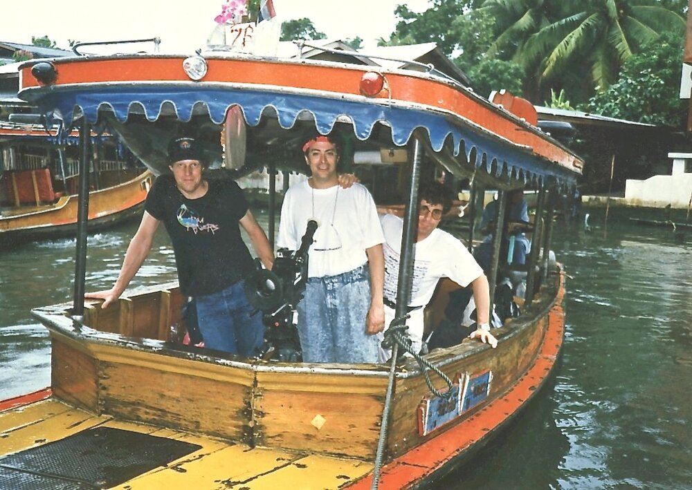 Filming on Chao Phraya River north of Bangkok for worldwide Julio Iglesias TV special, 1988.