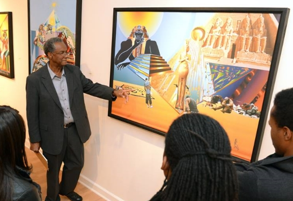 Wade speaking to students on the meaning behind his recent work at Southern A&M.