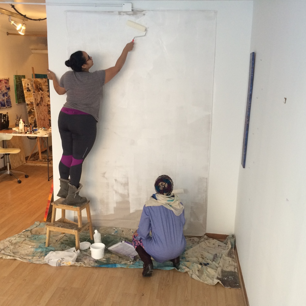 priming our enormous canvas