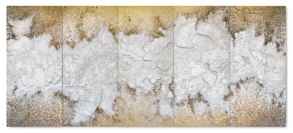 untitled - 5 panel Gold #2 - Acrylic paint, plaster, gravel and salt on wood - 188 cm x 430 cm x 10 cm - 2018