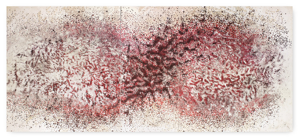 untitled - 5 Panel red & white #3 - Acrylic paint, gravel and salt on wood - 190 cm x 430 cm x 20 cm- 2017