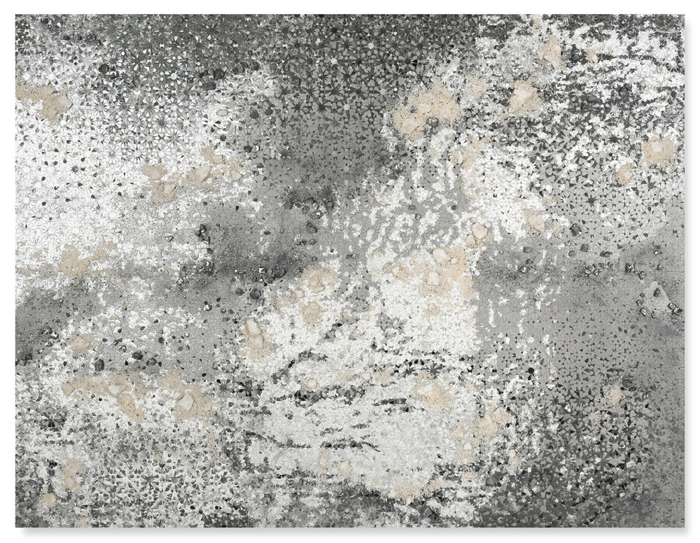 Silver Rectangle # 1, 2017  - Acrylic paint, salt and Kohl on wood - 176 x 230 cm - 69.3 x 90.5 in.