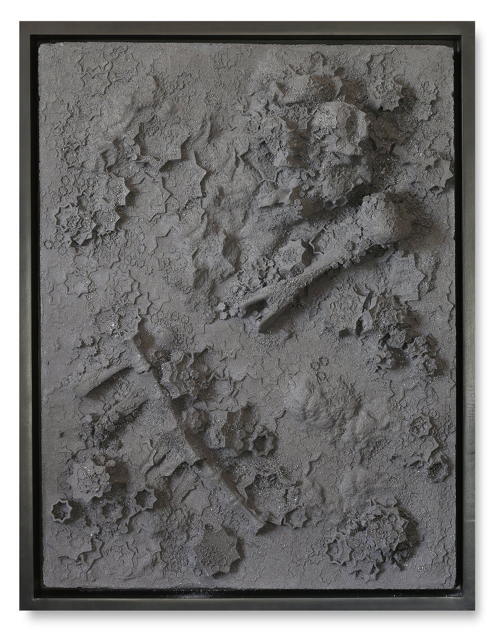 Silver Plaster Rectangle #1, 2017 -  Kôhl and plaster on wood panel - 40.1 x 30.3 in | 102 x 77 cm