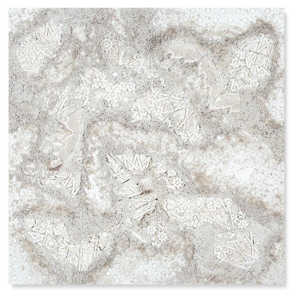 White Square #2, 2017  - Acrylic paint, salt, plaster, found objects and gravel on wood - 158 x 158 cm - 62.2 x 62.2 in.