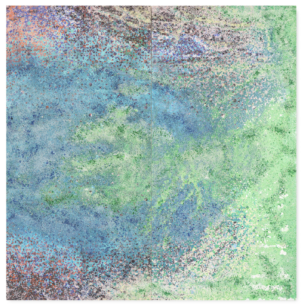 Green & Blue Duo #1, 2016  - Acrylic paint, pigments, salt and gravel on wood - 183 x 180 cm - 72 x 70.9 in.