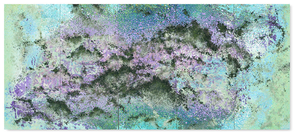 Green and Purple 5 panel #1, 2017 -  acrylic paint, pigments, salt and gravel on wood panel - Pentaptych: 74.8 x 171.3 in. - 190 x 435 cm