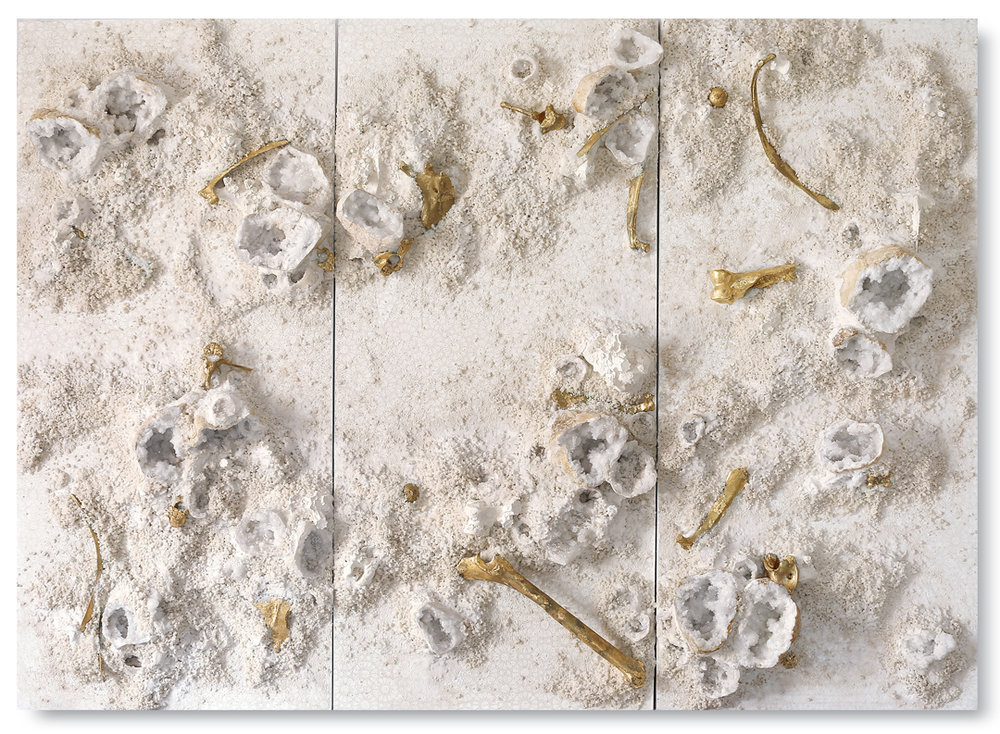 White and Gold Trio #1, 2017 -  acrylic paint, gold leaf, minerals, camel remains, salt and gravel on wood panel - Triptych: 71.6 x 98 in | 182 x 249 cm