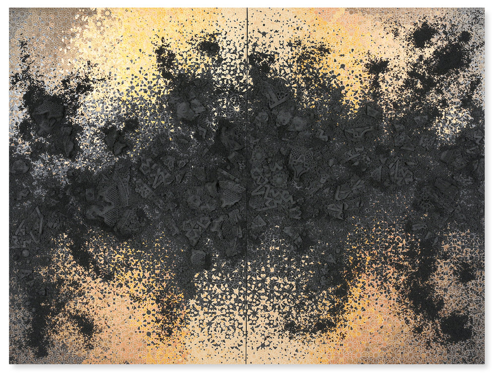 Black and Gold Duo #1, 2017  - Acrylic paint, pigments, salt, plaster, found objects and gravel on wood - 176 x 230 cm - 69.3 x 90.5 in