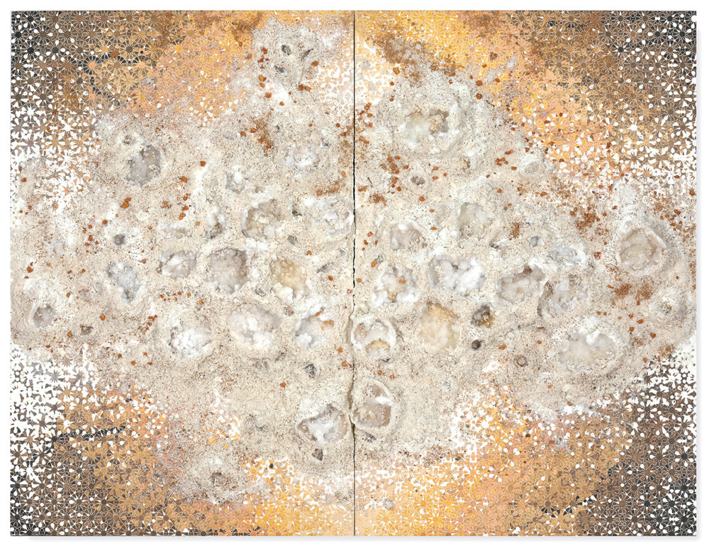 Gold White Duo #1, 2017 - acrylic paint, salt, pigments and minerals on wood panel - Diptych: 69.3 x 90.6 in | 176 x 230 cm