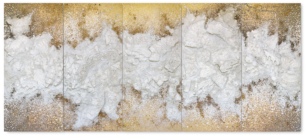 Gold 5 Panel #2, 2018  - Acrylic paint, pigments, styrofoam, salt and gravel on wood - 190 x 435 cm - 74.8 x 171.3 in.