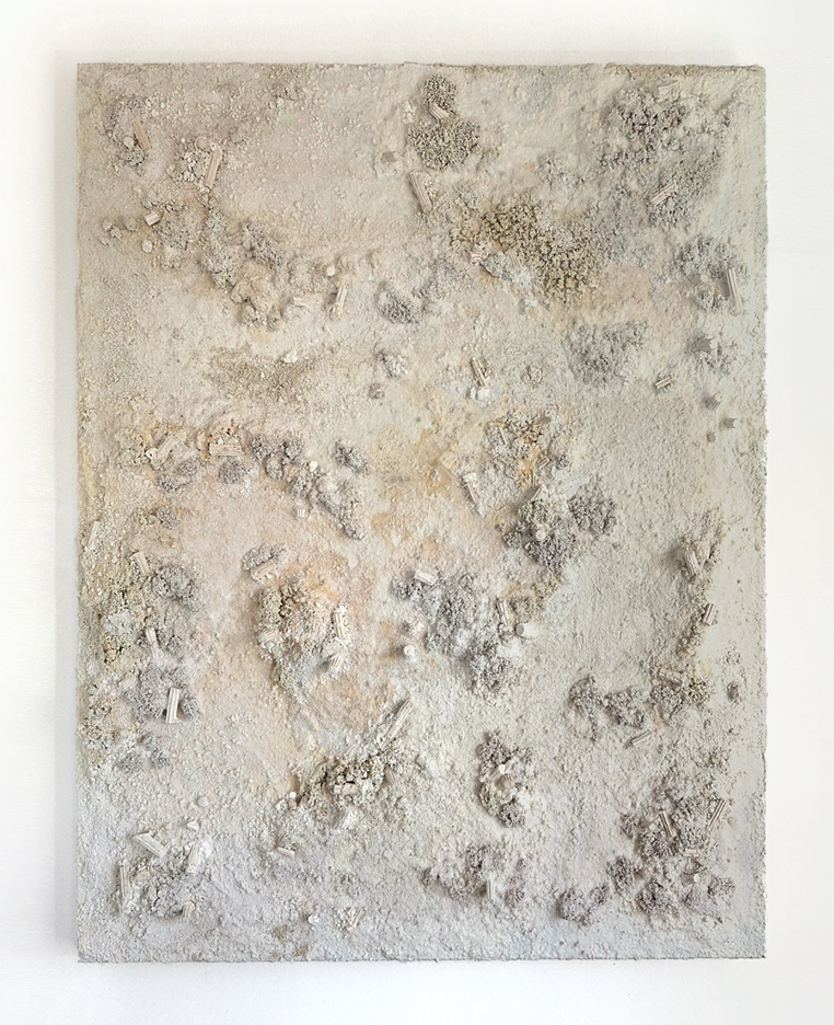 White Rectangle #3, 2015  - Acrylic paint, salt, plaster, ashes and gravel on wood - 152 x 196 cm - 60 x 77 in