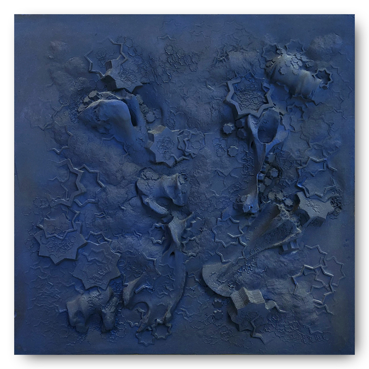 Blue Plaster Square #3, 2018 -  Tuareg indigo and plaster on wood panel - 24 in x 24 in | 60 cm x 60 cm
