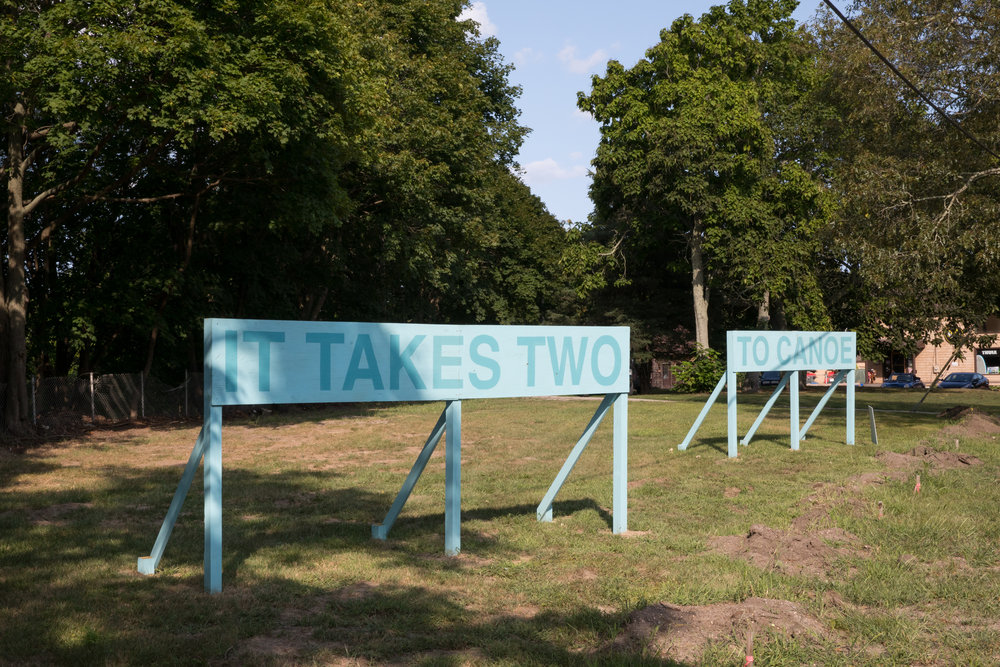 It Takes Two to Canoe,  2017 ,  Auto Body.     Photo by Jenny Gorman
