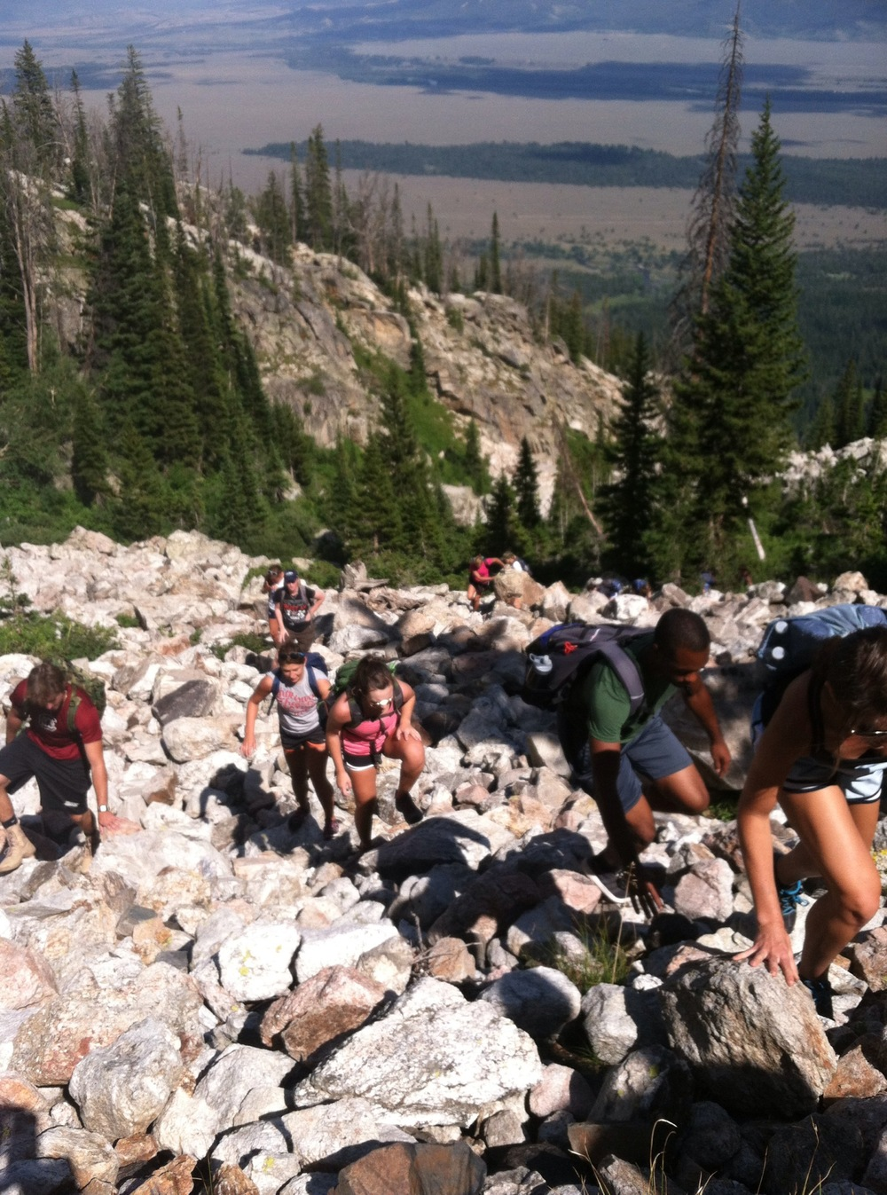 Traversing a boulder field on the way up to Delta Lake, Grand Teton National Park (XE photo)