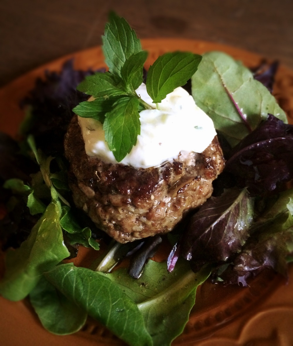 Feta Stuffed Lamb Burger with Yogurt-Cucumber Sauce