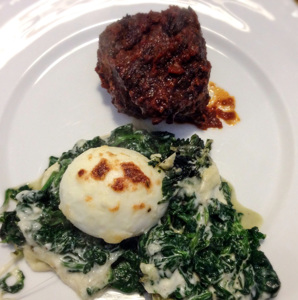 Eggs Mollet Florentine with Braised Beef Short Ribs