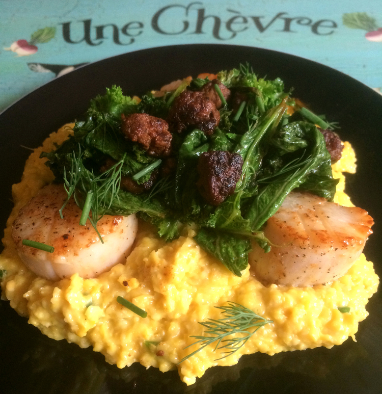 Seared Scallops with Jalapeno Creamed Corn