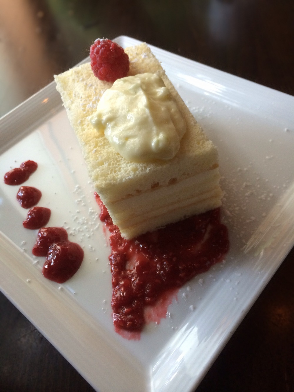 Lemon Chiffon Cake with Lime Mousseline and Raspberry Compote. Light and fluffy!