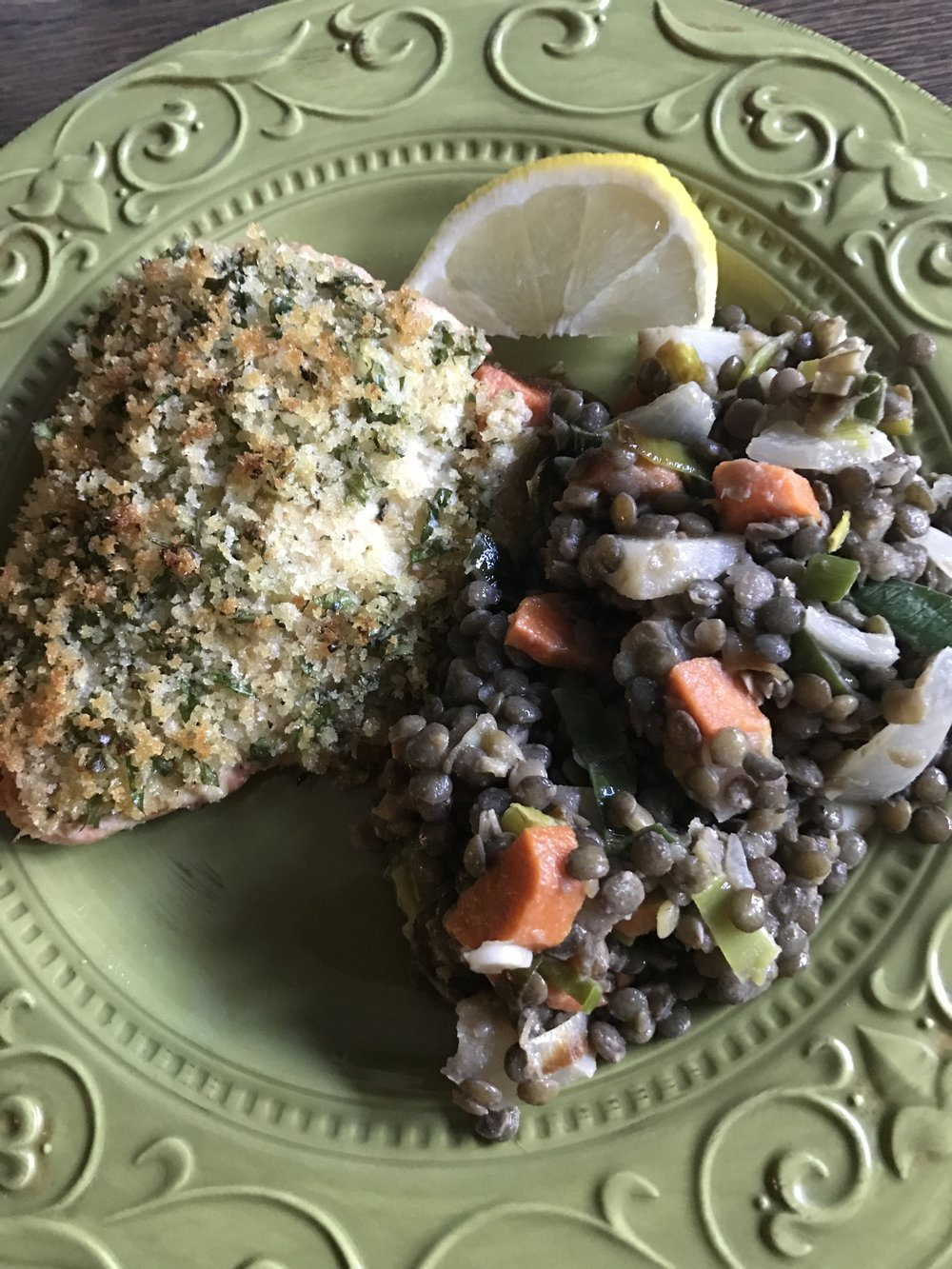 Panko Crusted Salmon with Warm Lentil Salad