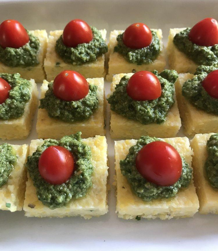 Polenta Squares with Sage Pesto