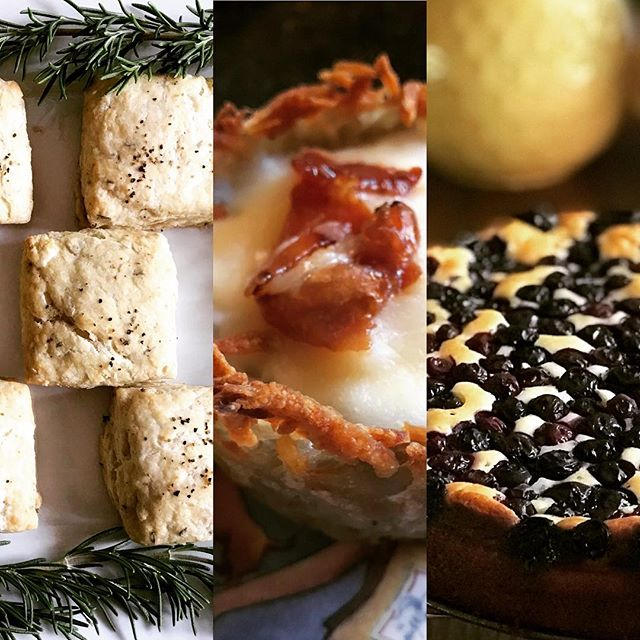 Some dishes from my Labor Day #brunch — rosemary parmesan #scones, eggs in potato baskets topped w/maple prosciutto, blueberry #breakfast cake, and grilled asparagus with balsamic/lemon reduction ... #yum #holiday #friendsforbrunch #perfectmeal