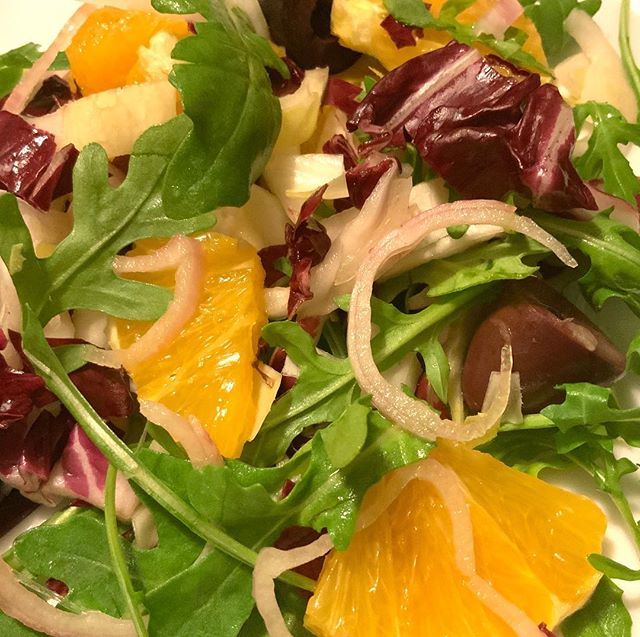 Salad for dinner tonight — oranges, radicchio, endive, arugula, kalamata olives & pickled shallot with a white balsamic-agave vinaigrette! #salad #vegan #eatyourveggies #whatsfordinner