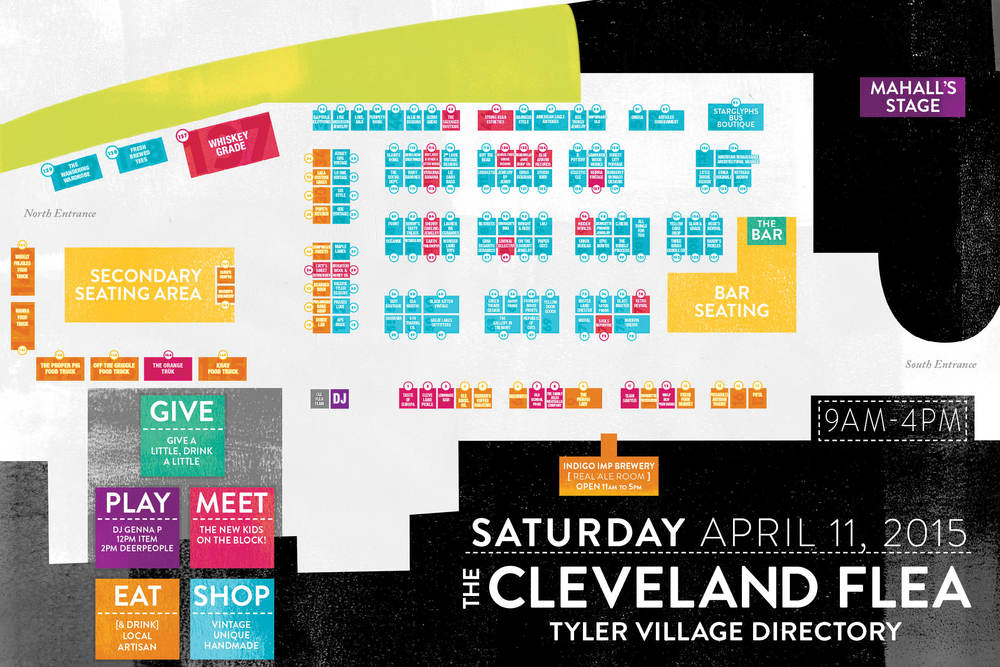 Download the APRIL 2015 CLEVELAND FLEA MAP (PDF) for clickable vendor booths and zoom (Cmd/Ctrl + on your computer, pinch in/out on mobile).