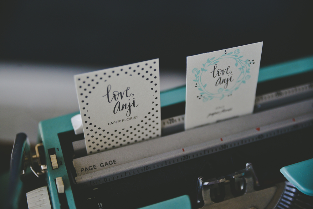 Love, Anji's sweet and simple business cards.