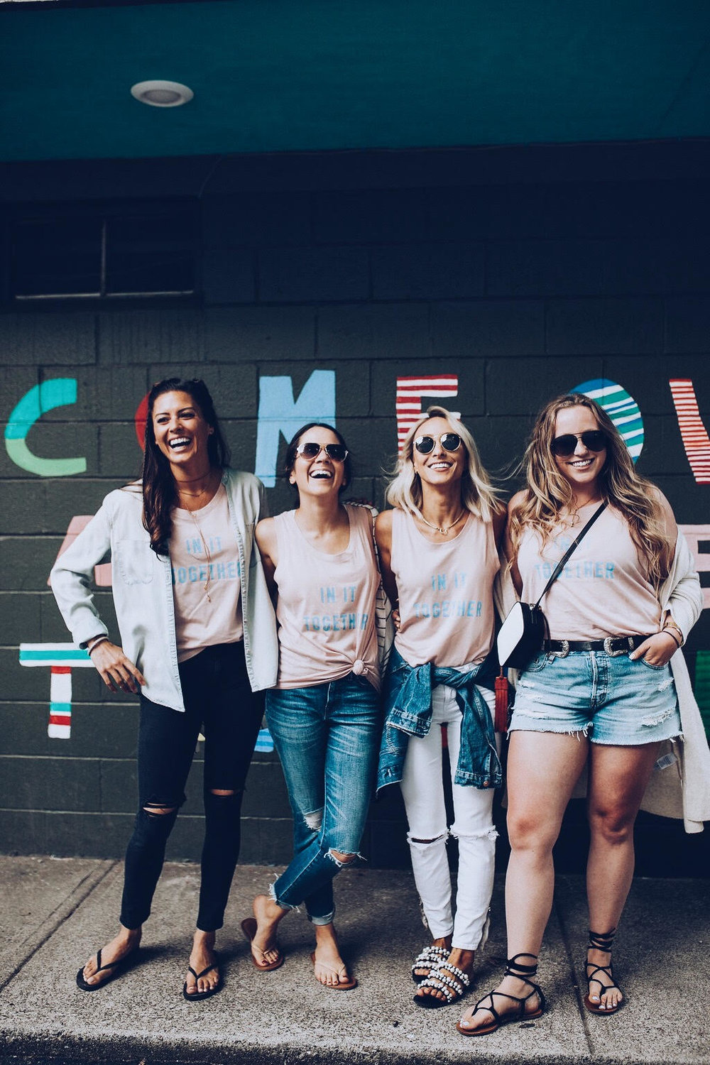 Photo: Julianna Arendash Photography- Location: Masons Creamery- Wall Art: Erin Guido  Models (left to right)- Ally Grubba, Brittany Whittman, Lauren Letizio, Alexandra Rose
