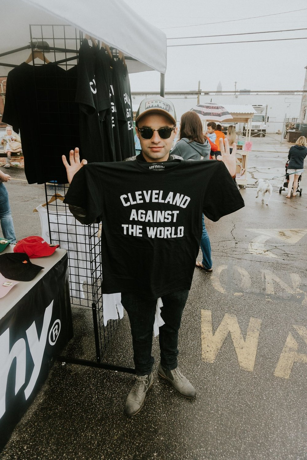 Tony visiting East Side Flea vendor,  ILTHY  // Photo by Julianna Arendash Photography