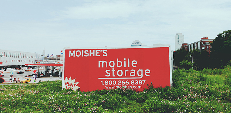 Moishe's mobile storage sign