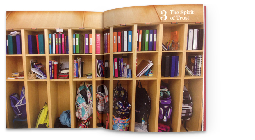 The school's deep commitment to values education is powerfully portrayed by images of trust, like the open lockers found throughout the school.
