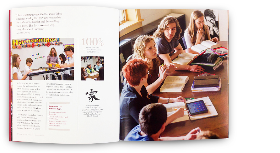 Images of the school's seminar style classes focus on small class size, personalized learning, and close faculty interaction. Key facts, statistics, and recognition are visually highlighted for ease of reading and to promote the school's distinctions.