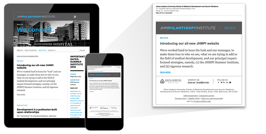 JHMPI's email blasts (right) are built to match the stylistic hierarchy of the site's content. The blasts link directly to the full newsletter on the site.