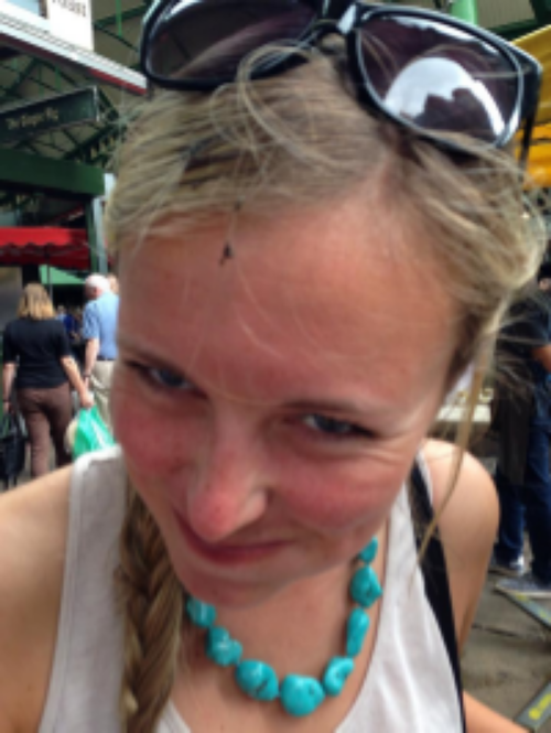 "Sarah had a bird poop on her head at the market. ""That means good luck!"""