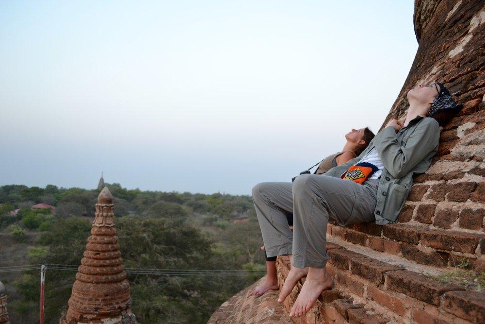 Pagoda climbing in Bagan, Myanmar