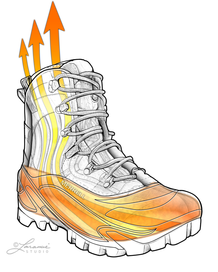 "Merrell ""Alpha"" Heated Boot Concept Illustration"